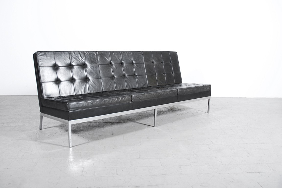banquette florence knoll cuir noir 1958 jasper. Black Bedroom Furniture Sets. Home Design Ideas
