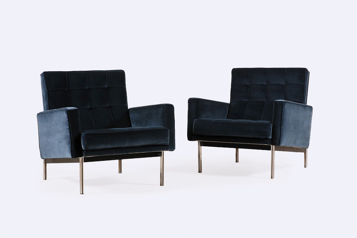 florence knoll international parallel bar velours bleu 1960
