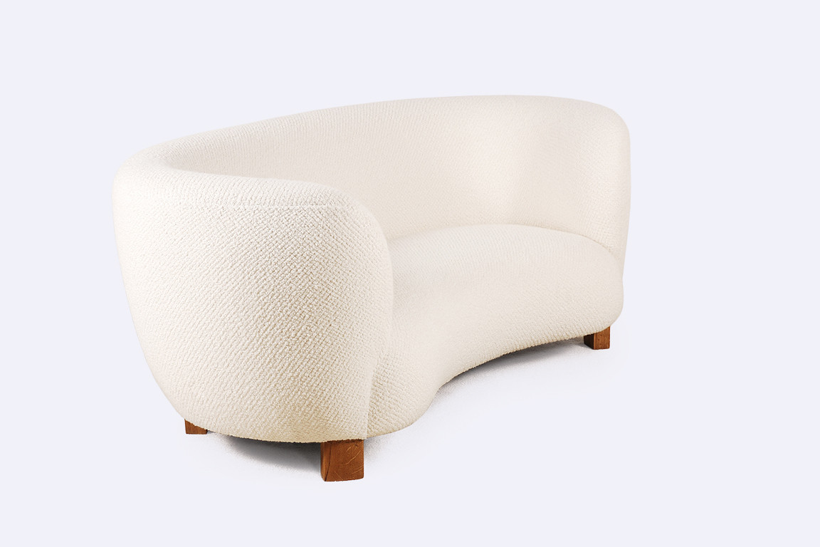 canapé danois scandinave courbé laine 2 places design 1940