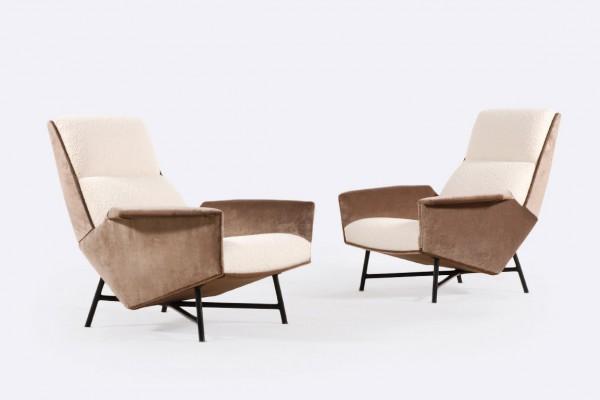 claude delor fauteuil france velours laine 1950 acier design