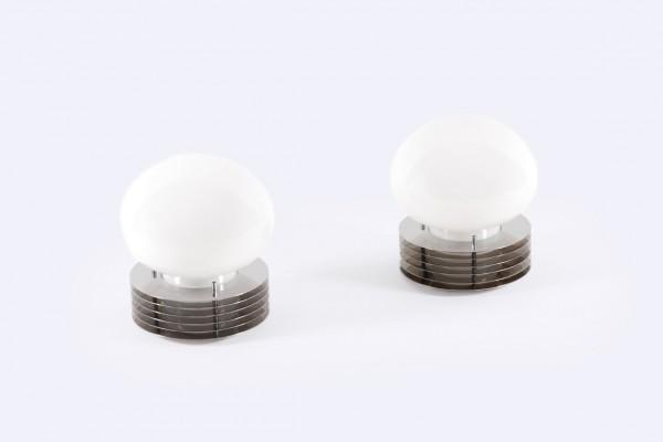 paire lampes enrico tronconi 1960 italie opaline acier