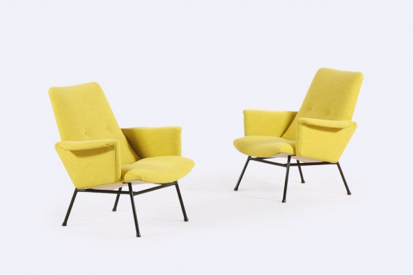 pierre guariche fauteuil sk660 jaune design france 1950 1960