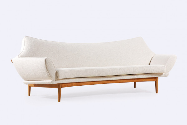 johannes andersen trensums curved sofa wool oak sweden 1960