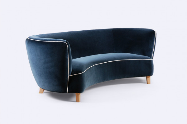 danish curved sofa velvet navy banana scandinavian 1940 1950